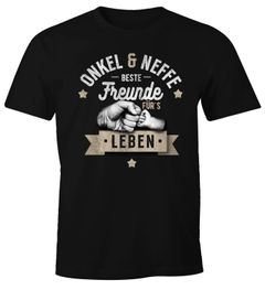 Herren T-Shirt Opa & Neffe, Opa & Enkel, Vater & Sohn Freunde für`s Leben Fäuste Geschenk-Shirt Moonworks®
