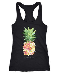 Damen Tank-Top Ananas Blumen Pineapple Flowers Tropical Summer Paradise Racerback Neverless®