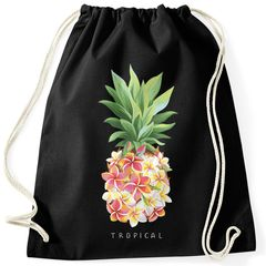 Turnbeutel Ananas Blumen Pineapple Flowers Tropical Summer Paradise Hipster Beutel Tasche Gymsac Autiga®