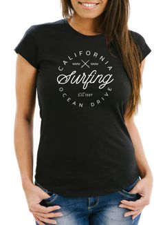 Damen T-Shirt California Surfing Ocean Drive Summer Slim Fit Neverless®