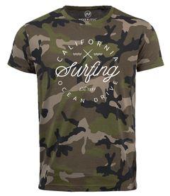 Herren Camo-Shirt California Surfing Ocean Drive Summer T-Shirt Camouflage Tarnmuster Neverless®