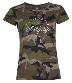 Damen Camo-Shirt California Surfing Ocean Drive Summer Camouflage T-Shirt Tarnmuster Neverless®