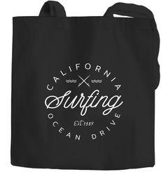 Jutebeutel California Surfing Ocean Drive Summer Baumwolltasche Stoffbeutel Autiga®