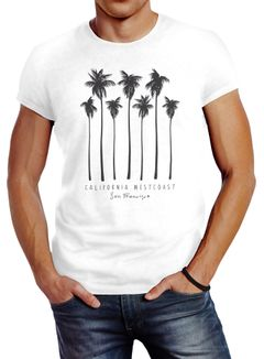 Herren T-Shirt Palmen California Westcoast Palms Summer Slim Fit Neverless®