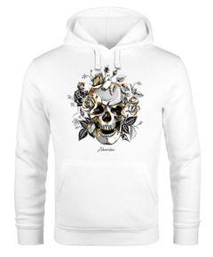 Hoodie Herren Totenkopf Rosen Skull Flower Schädel Kapuzen-Pullover Männer Neverless®
