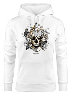 Hoodie Damen Totenkopf Rosen Skull Roses Schädel Kapuzen-Pullover Frauen Neverless®