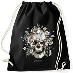 Turnbeutel Totenkopf Rosen Skull Roses Schädel Hipster Beutel Tasche Gymsac Autiga®