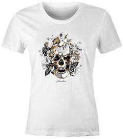 Damen T-Shirt Totenkopf Rosen Skull Roses Schädel Slim Fit Neverless®