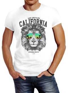 Herren T-Shirt Löwe Bär Sonnenbrille Palmen Summer California Slim Fit Neverless®