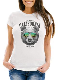 Damen T-Shirt Löwe Bär Sonnenbrille Palmen Summer California Slim Fit Neverless®