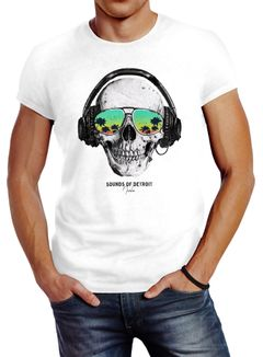 Herren T-Shirt Totenkopf Kopfhörer Musik Party Skull Sonnenbrille Schädel Sounds of Detroit Music Slim Fit Neverless®