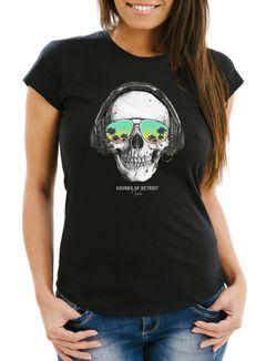 Damen T-Shirt Totenkopf Kopfhörer Musik Party Skull Sonnenbrille Schädel Sounds of Detroit Music Slim Fit Neverless®