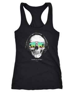 Damen Tank-Top Totenkopf Kopfhörer Musik Party Skull Sonnenbrille Schädel Sounds of Detroit Music Racerback Neverless®