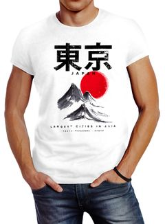 Herren T-Shirt Tokyo Asia Japan Berge City Urban Kanji Slim Fit Neverless®