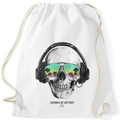 Turnbeutel Totenkopf Skull Sonnenbrille Schädel Sounds of Detroit Music Hipster Beutel Tasche Gymsac Autiga®