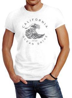 Herren T-Shirt Welle Wave California Ocean Drive Surf Summer Slim Fit Neverless®