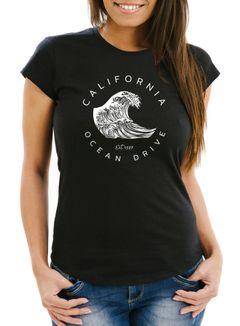 Damen T-Shirt Welle Wave California Ocean Drive Surf Summer Slim Fit Neverless®
