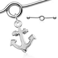 Industrial Piercing Stab mit Anhänger Anker Anchor Straight Barbell Hantel Autiga®