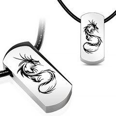 Dog Tag Anhänger Edelstahl Halskette Lederkette Kugelkette