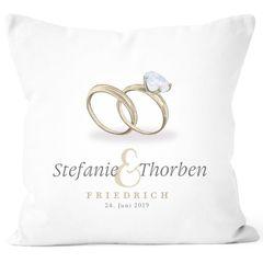 personalisierbares Kissen zur Hochzeit Ringe mit eigenen Vornamen Nachname Datum Hochzeitsgeschenk SpecialMe®