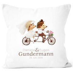 personalisierbare Kissenhülle zur Hochzeit, Hochzeitskissen Igel Fahrrad Tandem Hochzeitsgeschenk Geldgeschenk SpecialMe®