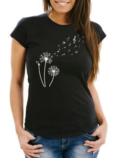 Damen T-Shirt Pusteblume Musiknoten Noten Musik Dandelion Slim Fit tailliert Baumwolle Neverless®
