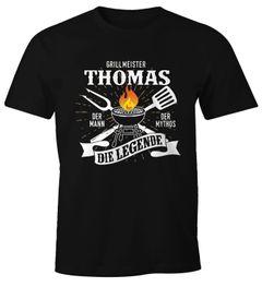 Herren T-Shirt Grillshirt personalisierbar Grillmeister [Wunschname] der Mann, der Mytos, die Legende BBQ Geschenk Moonworks®