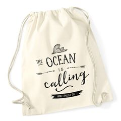 Turnbeutel Ocean is calling and ja must go Sailing Surfing Meer Ozean Moonworks