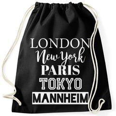 personalisierbarer Turnbeutel London Paris New York Tokyo Deine Stadt Dorf Ort Ortsname Gymbag Trend-Accessoire Moonworks®