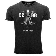 Cooles Angesagtes Herren T-Shirt Vintage Shirt Biker Motorrad Chopper Motiv Aufdruck Used Look Slim Fit Neverless®
