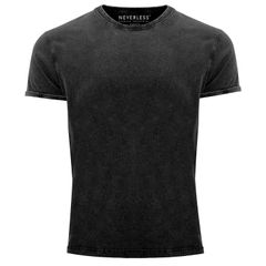 Cooles Angesagtes Herren T-Shirt Vintage Shirt Basic ohne Aufdruck Used Look Slim Fit Neverless®