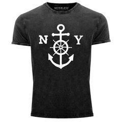 Cooles Angesagtes Herren T-Shirt Vintage Shirt Anker mit Steuerrad Used Look Slim Fit Neverless®