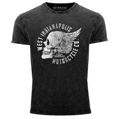 Cooles Angesagtes Herren T-Shirt Vintage Totenkopf Skull Wings Used Look Slim Fit Neverless®