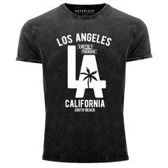 Cooles Angesagtes Herren T-Shirt Vintage Shirt LA Los Angeles California Aufdruck Used Look Slim Fit Neverless®
