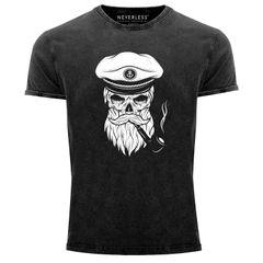 Cooles Angesagtes Herren T-Shirt Vintage Shirt Captain Skull Totenkopf Aufdruck Used Look Slim Fit Neverless®