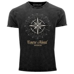 Cooles angesagtes Herren T-Shirt Vintage Shirt Kompass Windrose Aufdruck Used Look Slim Fit Neverless®