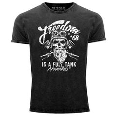 Cooles Angesagtes Herren T-Shirt Vintage Shirt Biker Spruch Motiv Totenkopf Aufdruck Used Look Slim Fit Neverless®