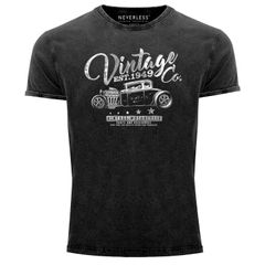 Cooles Angesagtes Herren T-Shirt Vintage Shirt Hot Rod Klassiker Aufdruck Used Look Slim Fit Neverless®