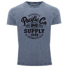Herren T-Shirt Vintage Shirt Retro Washed Aufdruck Used Neverless®
