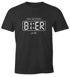 Herren T-Shirt Oh schon Bier Uhr lustiges Trink Shirt Saufen Bier Party Moonworks®