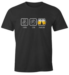 Herren T-Shirt Schere, Stein, paar Bier lustiges Trink Shirt Saufen Bier Party Moonworks®