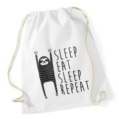 Turnbeutel Spruch Sleep Eat Sleep Repeat Faultier Sporttasche Moonworks®