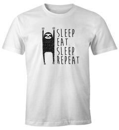 lustiges Herren T-Shirt Sleep Eat Sleep Repeat Faultier Fun-Shirt Moonworks®