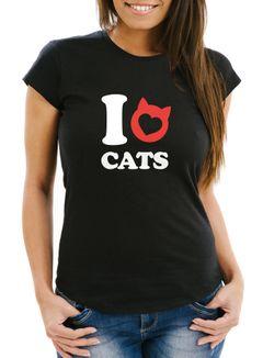Damen T-Shirt Spruch I love cats Katze Herz Grafik Motiv Frauen Print Fun-Shirt lustig Moonworks®