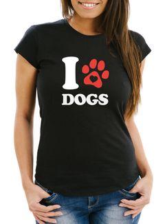 Damen T-Shirt I love Dogs Hundespruch Motiv Hundepfote Abdruck Gassi Shirt Frauen Fun-Shirt lustig Moonworks®
