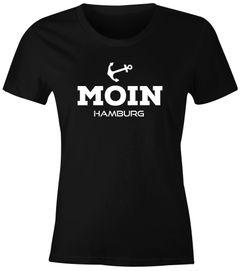 Damen T-Shirt Moin Hamburg Anker maritime Damen Slim Fit Moonworks®