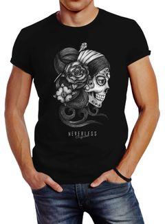 Herren T-Shirt Santa Muerte La catrina Mexican Skull Dia de los Muertos Tattoo Design Slim Fit Neverless®
