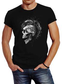 Herren T-Shirt Punk Mohawk Skull Totenkopf Irokese Shirt Slim Fit Neverless®