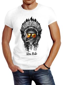Herren T-Shirt Indian Skull Indianer Totenkopf Slim Fit Neverless®