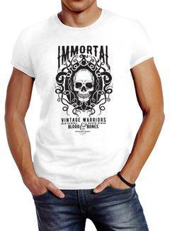Herren T-Shirt Totenkopf Immortal Skull Vintage Warriors Slim Fit Neverless®